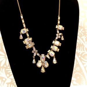 J. CREW iridescent crystal Statement necklace NWT